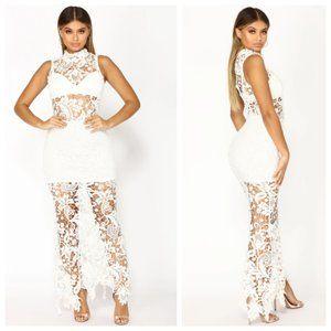 Fashion Nova White Crochet Lace Sheer Maxi Dress